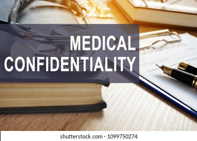 Medical confidentiality. Documents with personal information in a clinic.