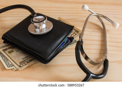 medical cost rising, stethoscope on dollar banknote money.  concept of health care costs finance.  health insurance funds. (selective focus )