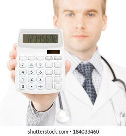 Medical doctor with calculator in his right hand - 1 to 1 ratio