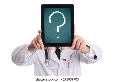 Medical doctor covering his face with tablet pc with green chalkboard screen and question mark. Isolated