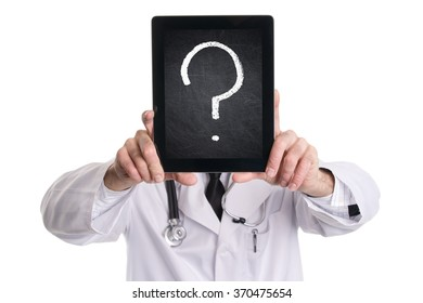 Medical doctor covering his face with tablet pc with black chalkboard screen and question mark. Isolated