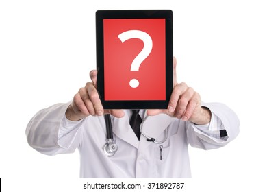 Medical doctor covering his face with tablet pc with red screen and question mark. Isolated