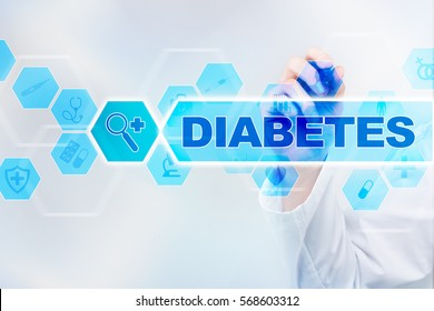 Medical doctor drawing diabetes on the virtual screen.