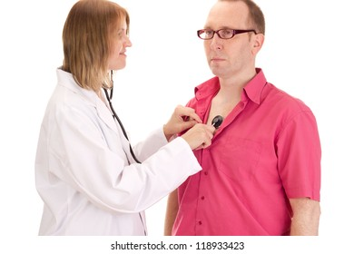 Medical doctor examines a patient