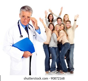Medical doctor and happy people patients. Isolated on white background. Health care.