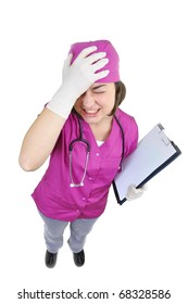 Medical doctor with headache holding her hand to the head,