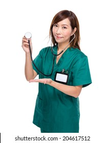 Medical doctor hold with stethoscope