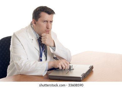 Medical Doctor makes Computer Diagnosis with a laptop