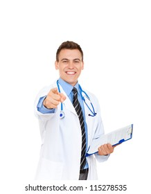 medical doctor man smile with stethoscope point finger at you. Excited happy toothy smiling Isolated over white background