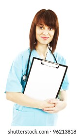 Medical doctor or nurse holding clipboard sign showing room for copyspace.  Isolated over white background