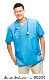 medical doctor nurse latin american mixed race hispanic happy medicine hospital