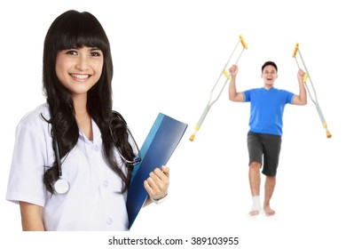 medical doctor with patient at the background using crutch