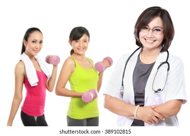 Medical doctor and people doing exercise at the background. Isolated on white