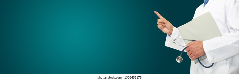 Medical doctor with a phonendoscope on a green background