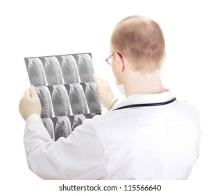 Medical doctor with radiograph