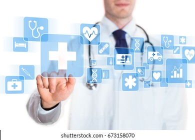 Medical doctor showing icons of health care services on a digital screen, isolated on white background
