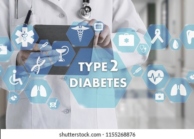 Medical Doctor with stethoscope and TYPE 2 Diabetes icon in Medical network connection on the virtual screen on hospital background.Technology and medicine concept.
