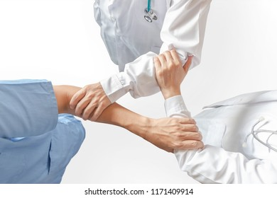 Medical doctor teamwork, surgeon, ER surgery clinical team hand group (isolated with clippig path on white backgroud) in hospital clinic for professional cooperative work on patient care operation
