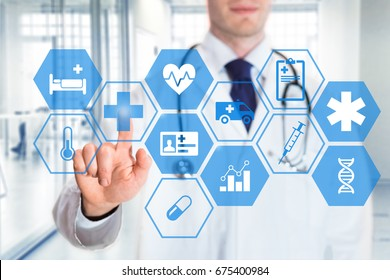Medical doctor touching icons of health care services on a digital screen, with hospital interior background