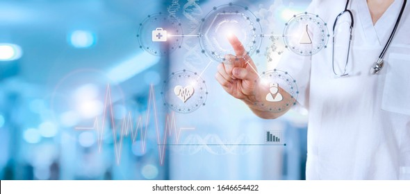 Medical doctor working with healthcare icons. Modern medical technologies concept - Shutterstock ID 1646654422