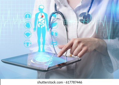 Medical doctor working with healthcare icons. Modern medical technologies concept