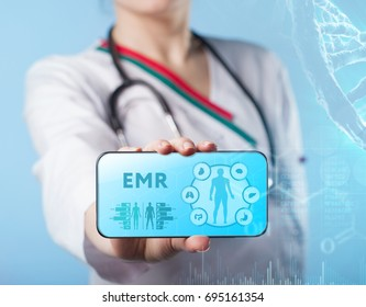 Medical doctor working with healthcare icons. Modern medical technologies concept.EMR
