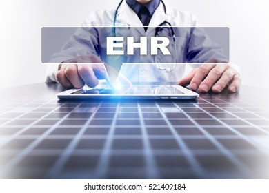 Medical doctor working with modern computer and selecting ehr. Medical concept.