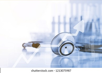 Medical doctor's stethoscope on table background