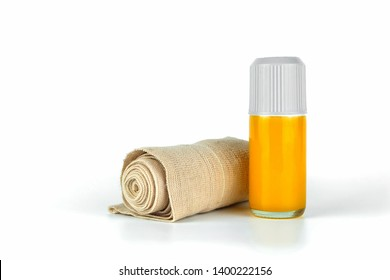 Medical Elastic bandage roll and Thai Boxing Liniment or Namman Muay use for massage to relieve muscle