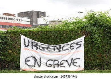 Medical emergency on strike called urgences en greve on the banner in French language