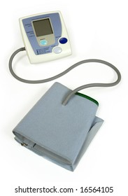 Medical equipment for checking your blood pressure. Focus on the monitor.