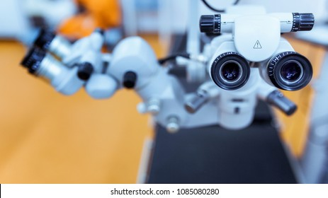 medical equipment. close up picture of an operating microscope in a laboratory. Ophthalmologist. health, ophthalmology concept