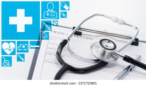 Medical and equipment concept. Stethoscope and medical record. Medical icons and stethoscope on medical record.