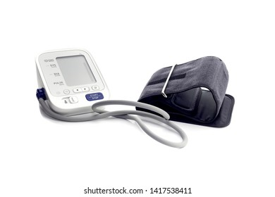 Medical equipment. The contemporary, new, household tonometer with monitor on white background close-up