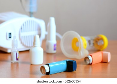 Medical equipment and drugs for bronchial asthma treatment. Nebulizer, medical inhaler, spacer, nebula, anti-inflammatory drugs to manage asthma. Bronchi asthma cure, emergency allergy asthma concept