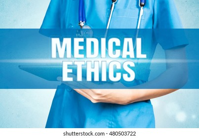 Medical Ethics text on visual doctor background.