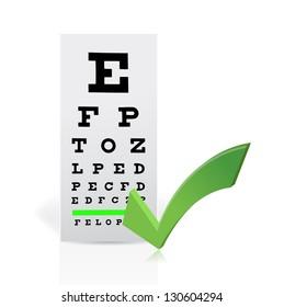 Medical Eye Chart with a checkmark. Good vision concept illustration design
