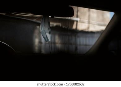 Medical face mask in Car.