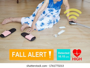 Medical fall accident detection is alert that elderly woman falling in bathroom because slippery surfaces