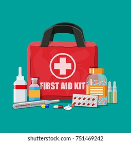 Medical first aid kit with different pills and thermometer. Healthcare, hospital and medical diagnostics. Urgency and emergency services. illustration in flat style