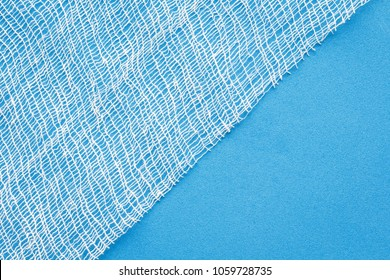 medical gauze on a blue background