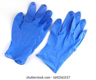 Medical gloves new blue white background