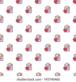 Medical health card pattern in cartoon style. Seamless pattern  illustration
