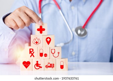 Medical health care business wooden block icon technology equipment symbol , concept hand health care protection medical icon, heart, ambulance, stethoscope, medicine, blood, Red Cross, wheelchair.