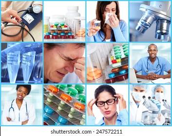 Medical health care collage. People having migraine headache.