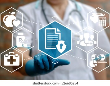 Medical health care insurance concept. Doctor presses clipboard shield icon on virtual medicine screen on background of network healthcare assurance safety money sign. Rx planning protection calculate