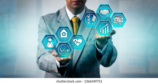 Medical and health service manager planning improvements to better patient care at facilities. Business concept for healthcare management, strategic solution, budgeting, scheduling, administration.
