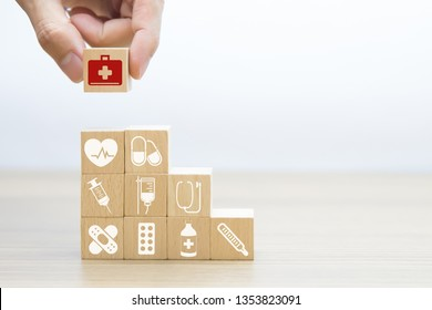 Medical and Health Wood Block Concept.
