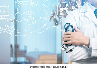 Medical Healthcare Concept - Doctor in hospital with icons showing the symbol of medicine, innovation, treatment, emergency service.