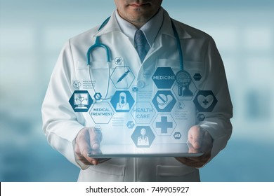 Medical Healthcare Concept - Doctor in hospital with icons in modern interface showing symbol of medicine, innovation, treatment, emergency service, data analysis and patient health.